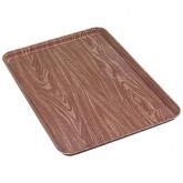 "Carlisle 1318WFG063 Glasteel Wood Grain Display/Bakery Tray 17-3/4"" x 12-3/4"" x 1"" - Pecan"