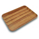 "Carlisle 1410WFG092 Glasteel Wood Grain Rectangular Tray 13-3/4"" x 10-5/8"" x 3/4"" - Butcher Block"