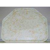 "Carlisle 1713DFG030 Glasteel Decorative Trapezoid Tray 18"" x 14"" x 27/32"" - Starfire Natural"