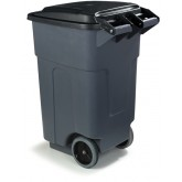 "Carlisle 34505023 Bronco 50 gal Rolling Container 21"" x 21"" x 38.25"" - Gray"