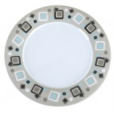 "Carlisle 43025919 Durus Wide Rim Decorated Dinner Plate 12"" - Modern Squares"