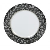 "Carlisle 43025921 Durus Wide Rim Decorated Dinner Plate 12"" - Black Waves"