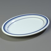 "Carlisle 43087912 Durus Oval Platter 9-1/2"" x 7-1/4"" - London on White"