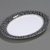 "Carlisle 44411921 Palette Displayware Oval Platter 17"" x 13"" - Black Waves"