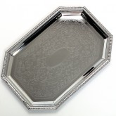 "Carlisle 608902 Celebration Octagonal Tray w/Beaded Border 20"" x 13-3/4"""