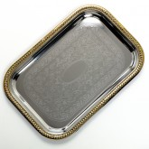 "Carlisle 608908 Celebration Rectangular Tray w/Gold Border 18-1/4"" x 12-3/8"""