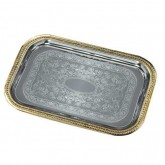 "Carlisle 608909 Celebration Rectangular Tray w/Gold Border 20-5/8"" x 14"""
