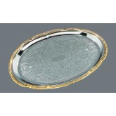 "Carlisle 608913 Celebration Oval Tray w/Gold Border 17-3/4"" x 12-7/8"""