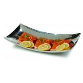 "Carlisle 609215 Curved Tray w/Hammered Finish 12"" x 7"" - Stainless Steel"