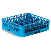 "Carlisle RC20-114 OptiClean 20-Compartment Cup Rack w/1 Open Extender 19.75"" x 19.75"" - Carlisle Blue"