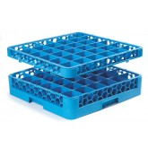 "Carlisle RG36-1C411 OptiClean 36-Compartment Glass Rack w/1 Extender 19.75"" x 19.75"" - Yellow-Carlisle Blue"