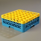 "Carlisle RG36-2C411 OptiClean 36-Compartment Glass Rack w/2 Extenders 19.75"" x 19.75"" - Yellow-Carlisle Blue"