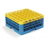 "Carlisle RG36-3C411 OptiClean 36-Compartment Glass Rack w/3 Extenders 19.75"" x 19.75"" - Yellow-Carlisle Blue"