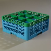 "Carlisle RG9-3C413 OptiClean 9-Compartment Glass Rack w/3 Extenders 19.75"" x 19.75"" - Green-Carlisle Blue"
