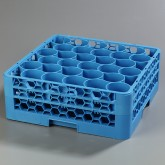 "Carlisle RW30-114 OptiClean NeWave 30-Compartment Glass Rack w/2 Extenders 19.75"" x 19.75"" - Carlisle Blue"